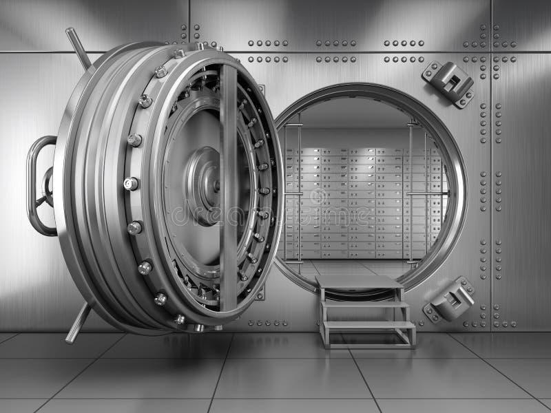 Ανοικτή πόρτα υπόγειων θαλάμων τράπεζας διανυσματική απεικόνιση