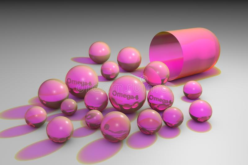 Ανοικτή ρόδινη κάψα με ρόδινα ωμέγα-6 χάπια Κάψες φυτικού ελαίου Πολυακόρεστα λιπαρά οξέα Βιταμίνη και ανόργανο άλας διανυσματική απεικόνιση