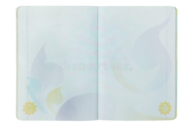 Ανοικτή σελίδα διαβατηρίων της Ταϊλάνδης κενή στο λευκό στοκ φωτογραφία