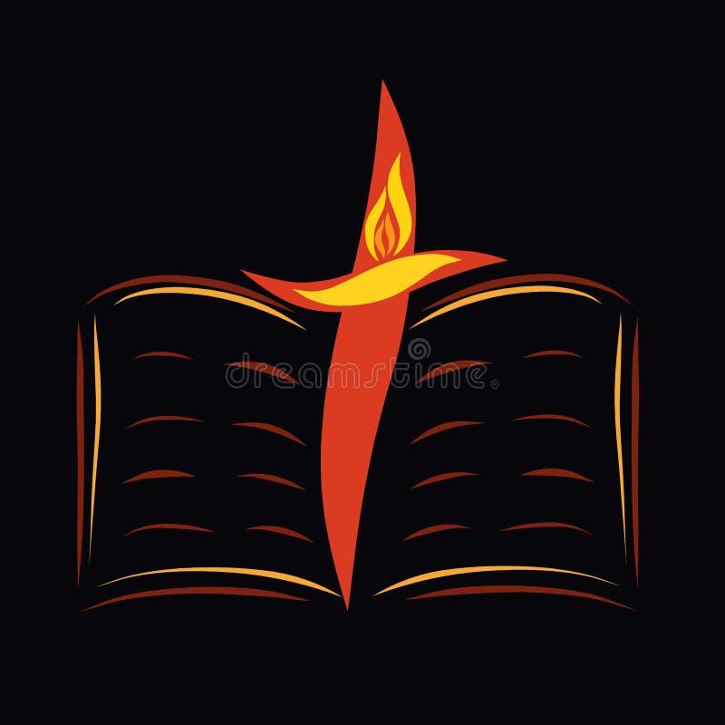 Ανοικτοί Βίβλος, σταυρός και πουλί με τη φλόγα σε ένα μαύρο υπόβαθρο ελεύθερη απεικόνιση δικαιώματος