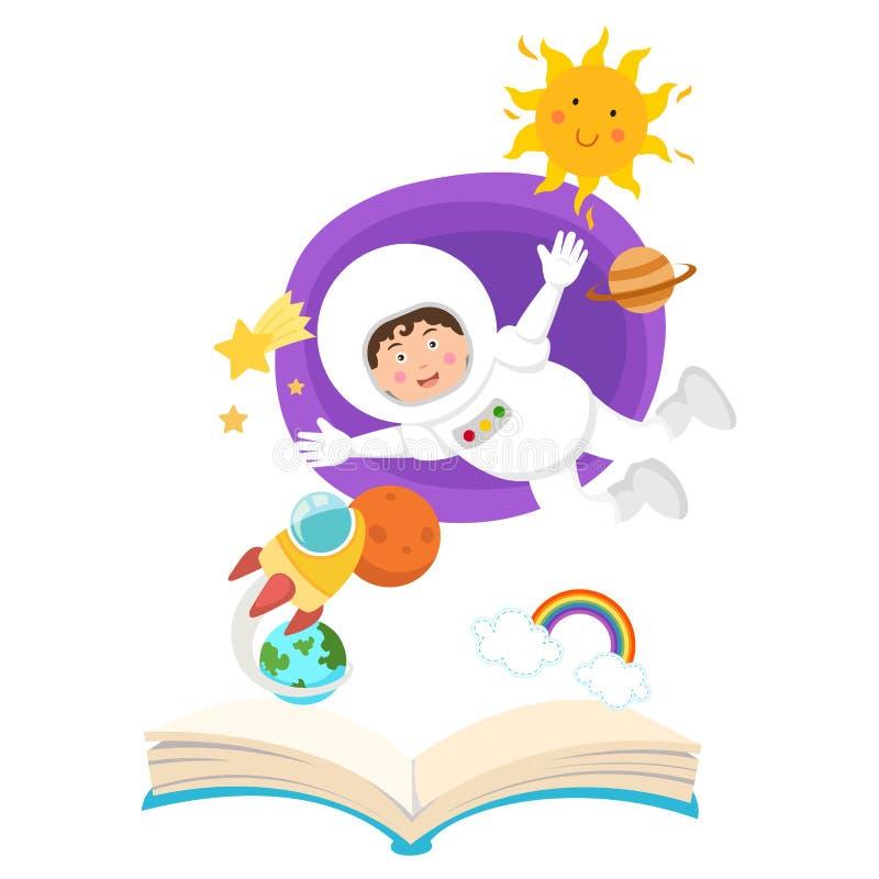Ανοικτός αστροναύτης βιβλίων στη διαστημική έννοια της εκπαίδευσης στοκ φωτογραφία