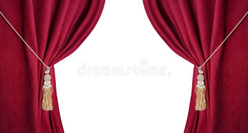Ανοικτός θεατρικός κόκκινος τυφλός που απομονώνεται στο άσπρο υπόβαθρο στοκ εικόνες