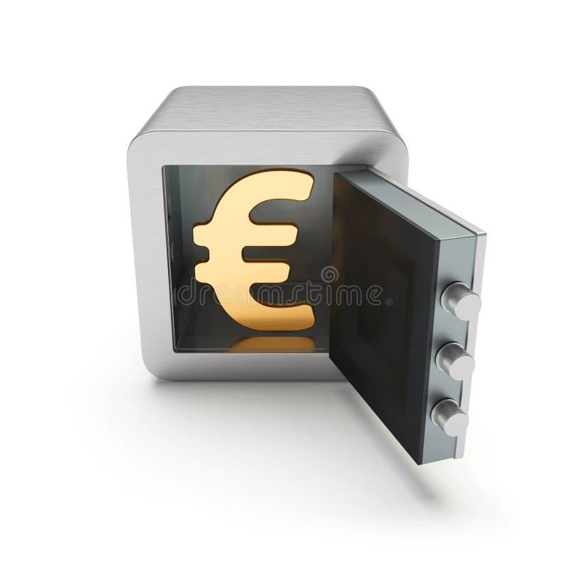 Ανοικτό ασφαλές κιβώτιο με το χρυσό ευρο- σημάδι μέσα διανυσματική απεικόνιση