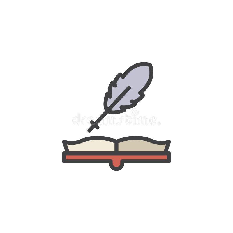 Ανοικτό βιβλίο και γεμισμένο καλάμι εικονίδιο περιλήψεων ελεύθερη απεικόνιση δικαιώματος