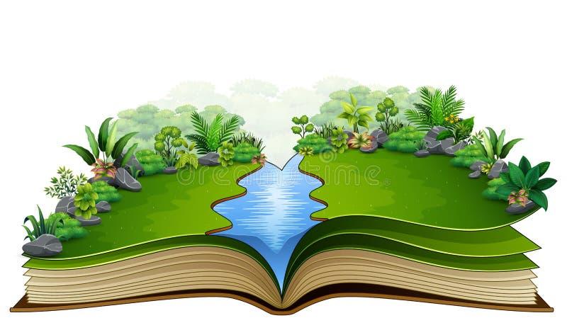 Ανοικτό βιβλίο με τις πράσινες εγκαταστάσεις του υποβάθρου φύσης διανυσματική απεικόνιση