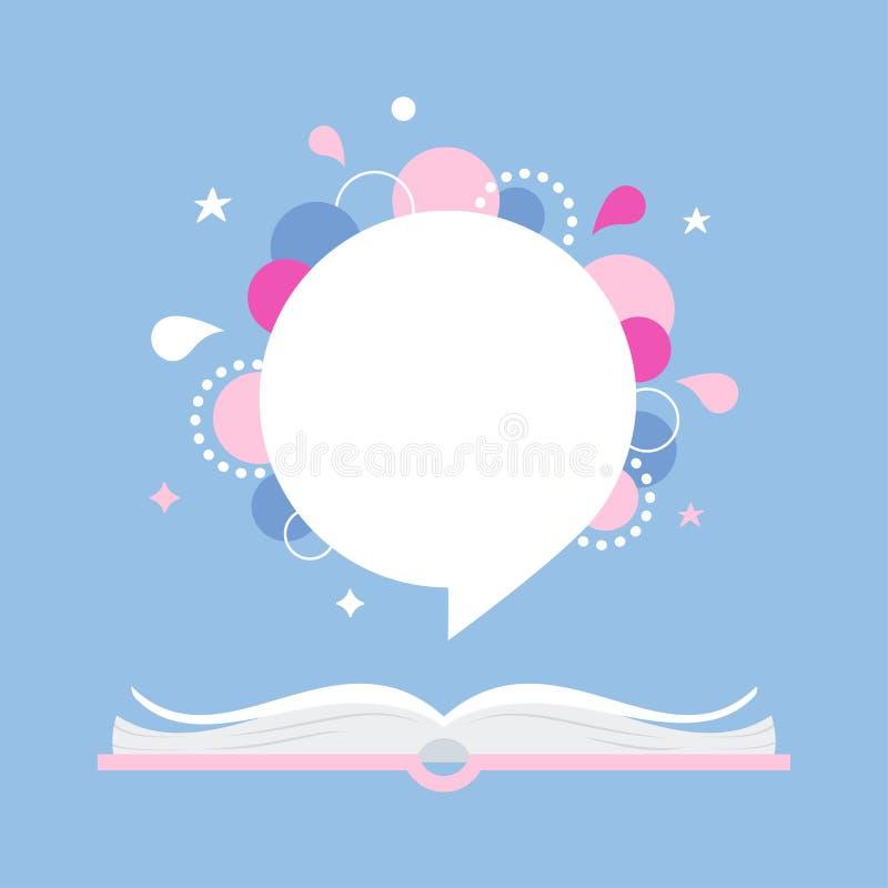 Ανοικτό βιβλίο με το διάστημα για το απόσπασμα ή τη φράση eps σχεδίου 10 ανασκόπησης διάνυσμα τεχνολογίας ελεύθερη απεικόνιση δικαιώματος
