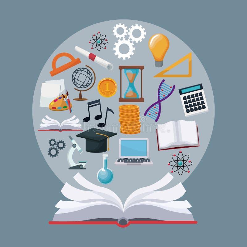 Ανοικτό βιβλίο υποβάθρου χρώματος με την κυκλική ακαδημαϊκή γνώση εικονιδίων συνόρων ελεύθερη απεικόνιση δικαιώματος