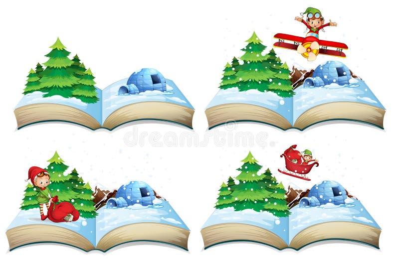 Ανοικτό βιβλίο χειμερινών τοπίων διανυσματική απεικόνιση