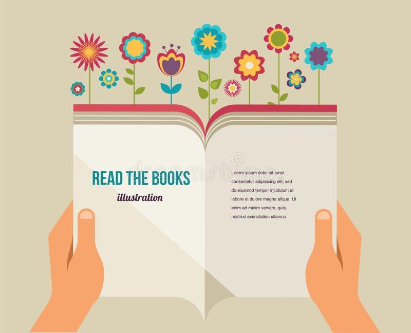Ανοικτό βιβλίο με τα λουλούδια, επίπεδα εικονίδια απεικόνιση αποθεμάτων