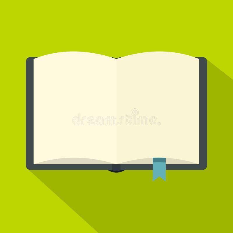 Ανοικτό βιβλίο με το εικονίδιο σελιδοδεικτών, επίπεδο ύφος διανυσματική απεικόνιση
