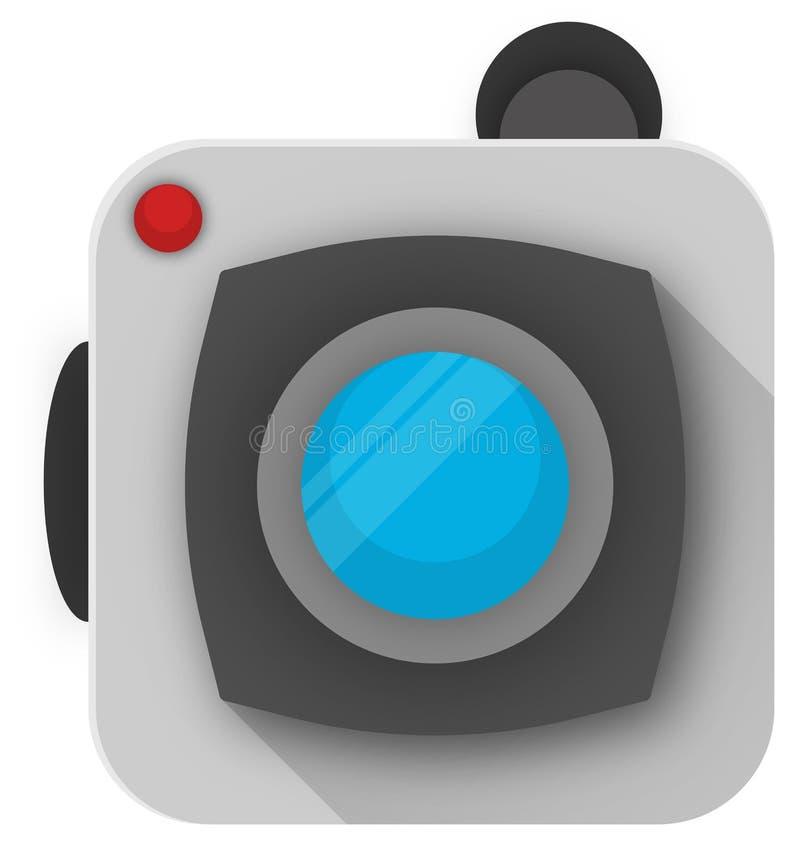 Ανοικτό γκρι κάμερα τέχνης έννοιας με έναν μπλε φακό απεικόνιση αποθεμάτων