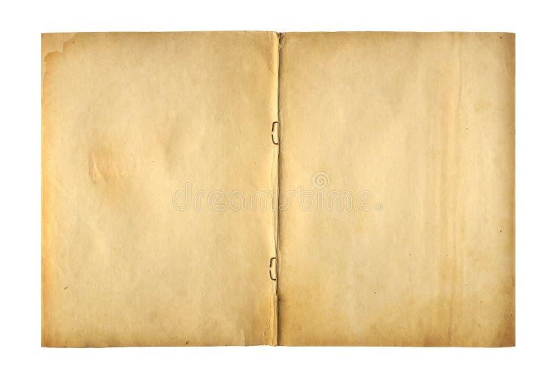 Ανοικτό γράφω-βιβλίο κάλυψης με το συνδετήρα μετάλλων για το αρχείο στοκ εικόνα