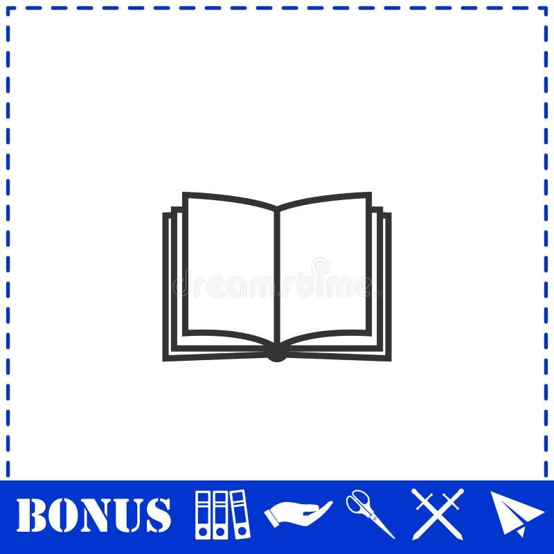Ανοικτό εικονίδιο βιβλίων επίπεδο διανυσματική απεικόνιση