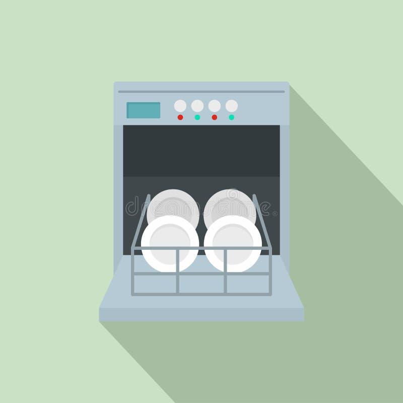 Ανοικτό εικονίδιο πλυντηρίων πιάτων, επίπεδο ύφος διανυσματική απεικόνιση