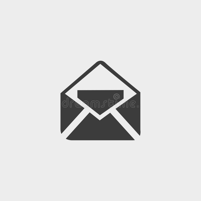 Ανοικτό εικονίδιο ταχυδρομείου σε ένα επίπεδο σχέδιο στο μαύρο χρώμα Διανυσματική απεικόνιση EPS10 ελεύθερη απεικόνιση δικαιώματος