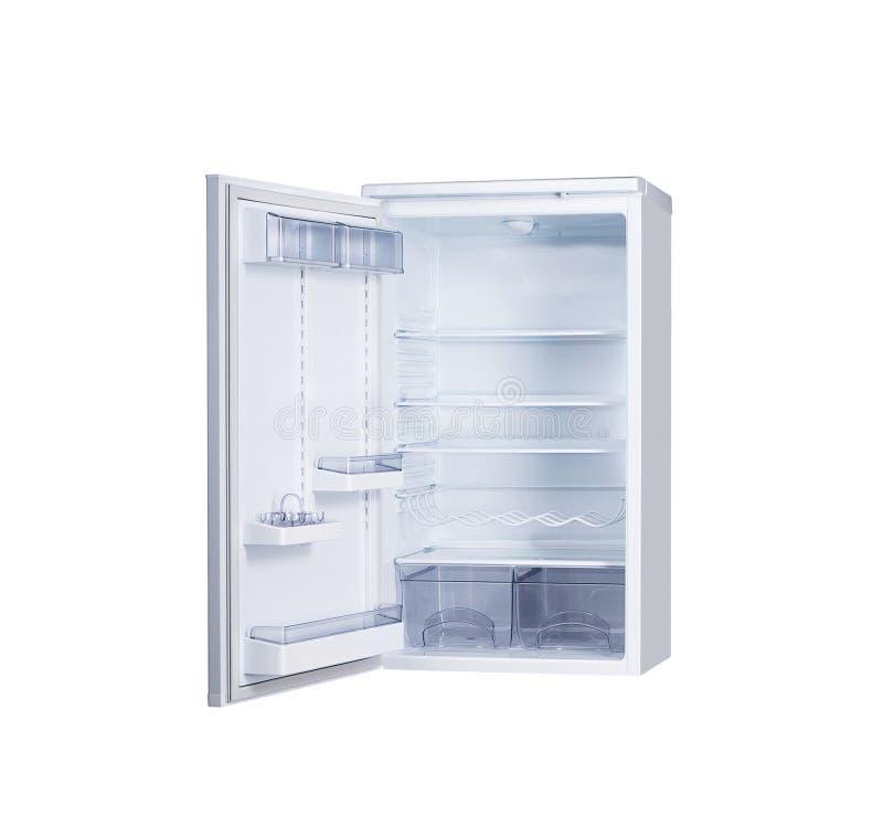 Ανοικτό ενιαίο ψυγείο πορτών που απομονώνεται στο λευκό στοκ φωτογραφία με δικαίωμα ελεύθερης χρήσης