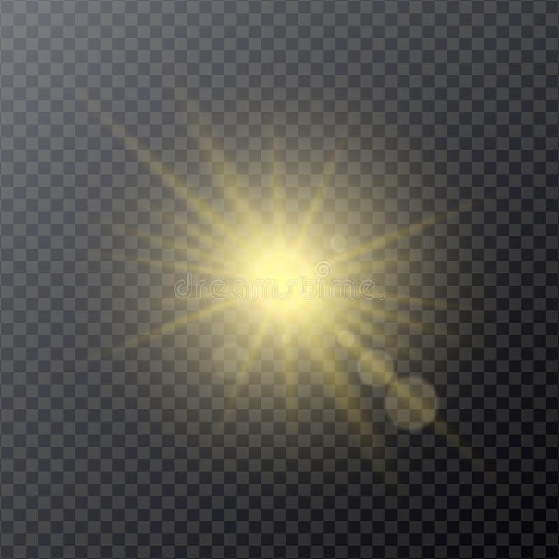 Ανοικτό κίτρινο ανακλαστήρας, αστέρι ή φως του ήλιου επίδρασης με τις ελαφριές ακτίνες, ελεύθερη απεικόνιση δικαιώματος