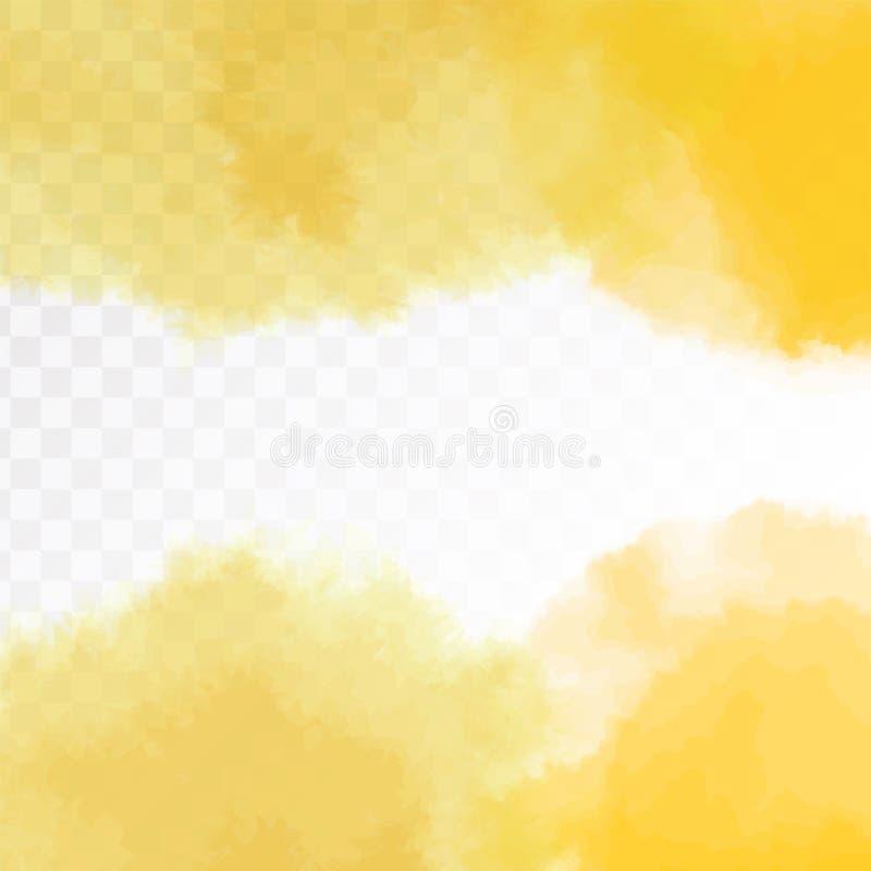 Ανοικτό κίτρινο σύσταση, αφηρημένο χρωματισμένο χέρι υπόβαθρο watercolor με το χάσμα - μεταξύ Διανυσματική απεικόνιση, που απομον απεικόνιση αποθεμάτων