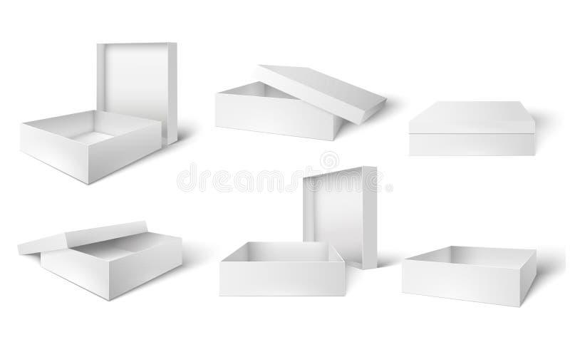 Ανοικτό και κλειστό συσκευάζοντας κιβώτιο Άσπρα κουτιά από χαρτόνι, συσκευασία δώρων ή προϊόντων και κενό τρισδιάστατο απομονωμέν διανυσματική απεικόνιση