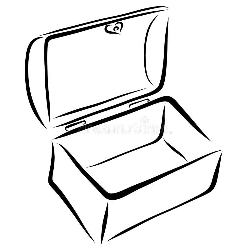 Ανοικτό κασετίνα ή εμπορευματοκιβώτιο, κιβώτιο διανυσματική απεικόνιση