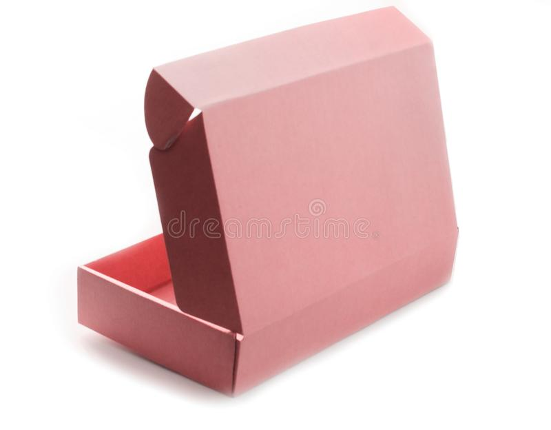 Ανοικτό κενό κουτί από χαρτόνι χρώματος κοραλλιών που απομονώνεται στο άσπρο υπόβαθρο στοκ φωτογραφίες