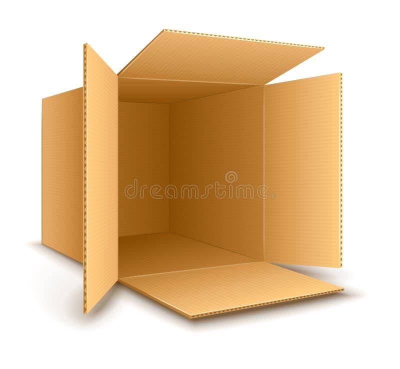 Ανοικτό κενό κουτί από χαρτόνι διανυσματική απεικόνιση