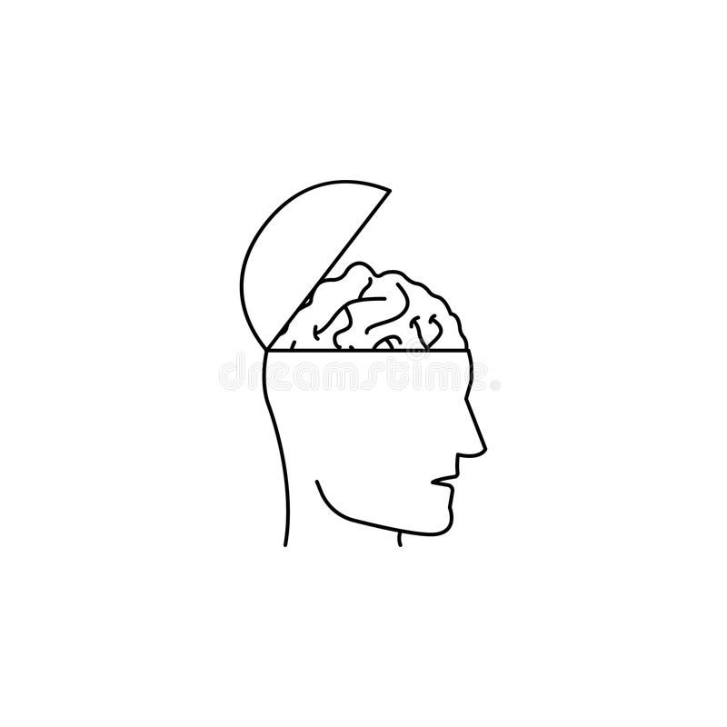 ανοικτό κεφάλι με το εικονίδιο εγκεφάλου Στοιχείο της ιδέας και των λύσεων για την κινητούς έννοια και τον Ιστό apps Λεπτό εικονί διανυσματική απεικόνιση