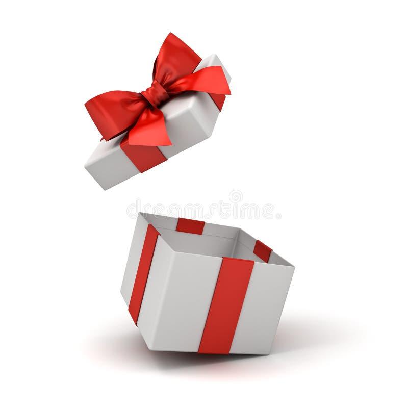 Ανοικτό κιβώτιο δώρων ή κενό παρόν κιβώτιο με το κόκκινο τόξο κορδελλών που απομονώνεται στο άσπρο υπόβαθρο απεικόνιση αποθεμάτων