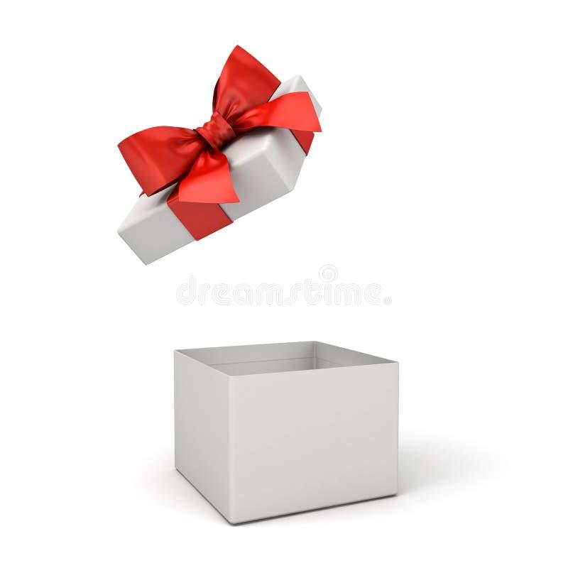 Ανοικτό κιβώτιο δώρων ή κενό παρόν κιβώτιο με το κόκκινο τόξο κορδελλών που απομονώνεται πέρα από το άσπρο υπόβαθρο απεικόνιση αποθεμάτων