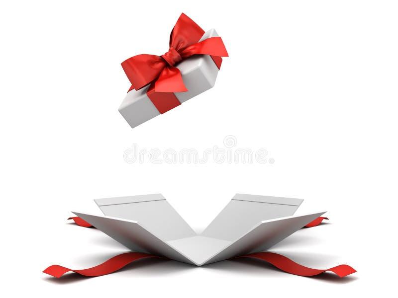 Ανοικτό κιβώτιο δώρων ή παρόν κιβώτιο με το κόκκινο τόξο κορδελλών που απομονώνεται στο άσπρο υπόβαθρο απεικόνιση αποθεμάτων