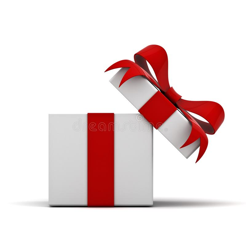 Ανοικτό κιβώτιο δώρων και παρόν κιβώτιο με το κόκκινο τόξο κορδελλών που απομονώνεται στο άσπρο υπόβαθρο ελεύθερη απεικόνιση δικαιώματος