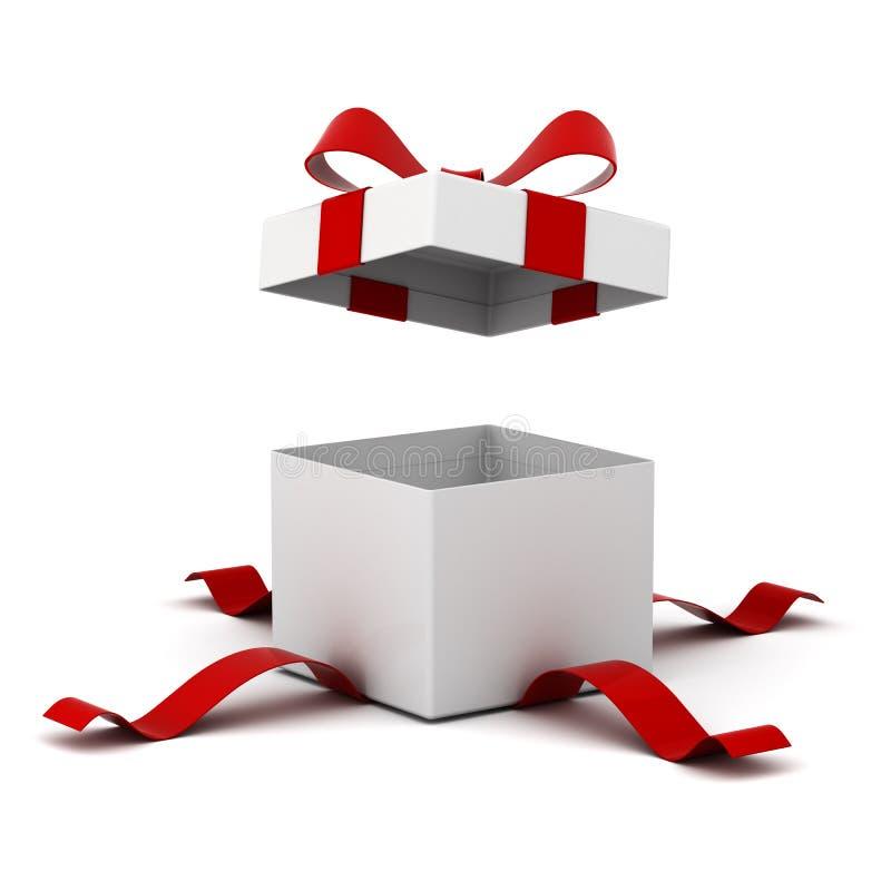 Ανοικτό κιβώτιο δώρων, παρόν κιβώτιο με το κόκκινο τόξο κορδελλών που απομονώνεται στο άσπρο υπόβαθρο ελεύθερη απεικόνιση δικαιώματος