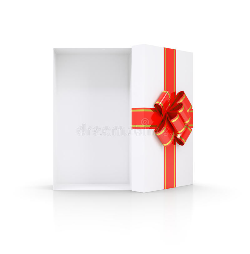 Ανοικτό κιβώτιο δώρων απομονωμένος ελεύθερη απεικόνιση δικαιώματος
