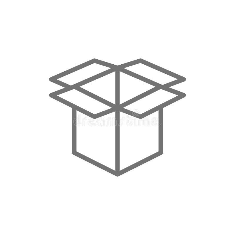 Ανοικτό κουτί από χαρτόνι, εικονίδιο γραμμών απορριμάτων εγγράφου απεικόνιση αποθεμάτων