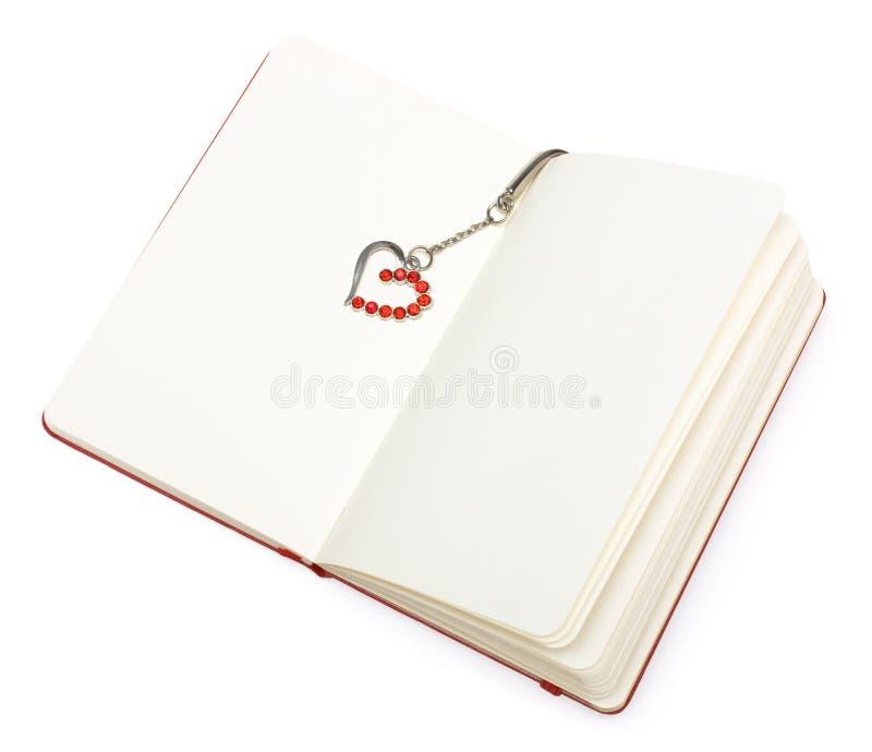 ανοικτό κόκκινο εγγράφου σημειωματάριων καρδιών σελιδοδεικτών στοκ εικόνες με δικαίωμα ελεύθερης χρήσης