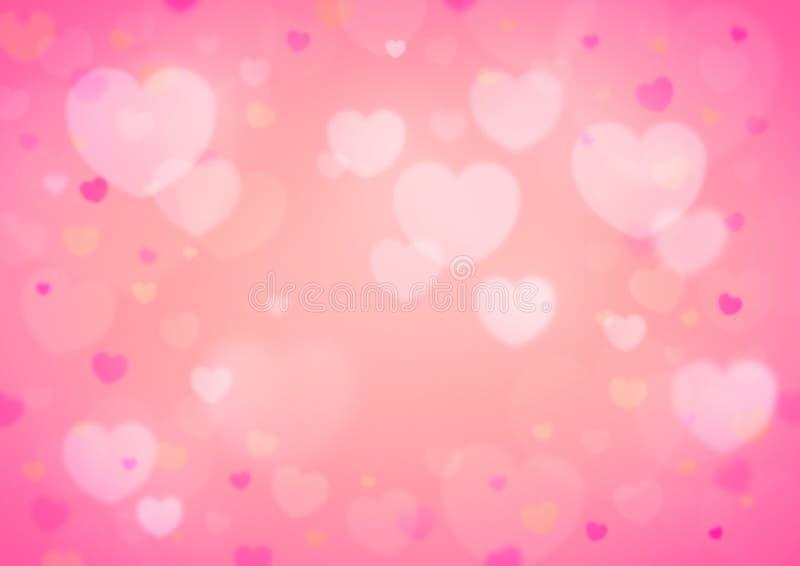 Ανοικτό κόκκινο καρδιά θαμπάδων bokeh για το βαλεντίνο απεικόνιση αποθεμάτων