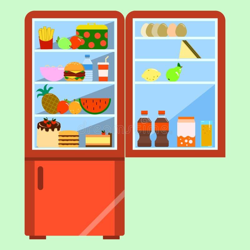 Ανοικτό κόκκινο ψυγείο με τα τρόφιμα Επίπεδη απεικόνιση ελεύθερη απεικόνιση δικαιώματος