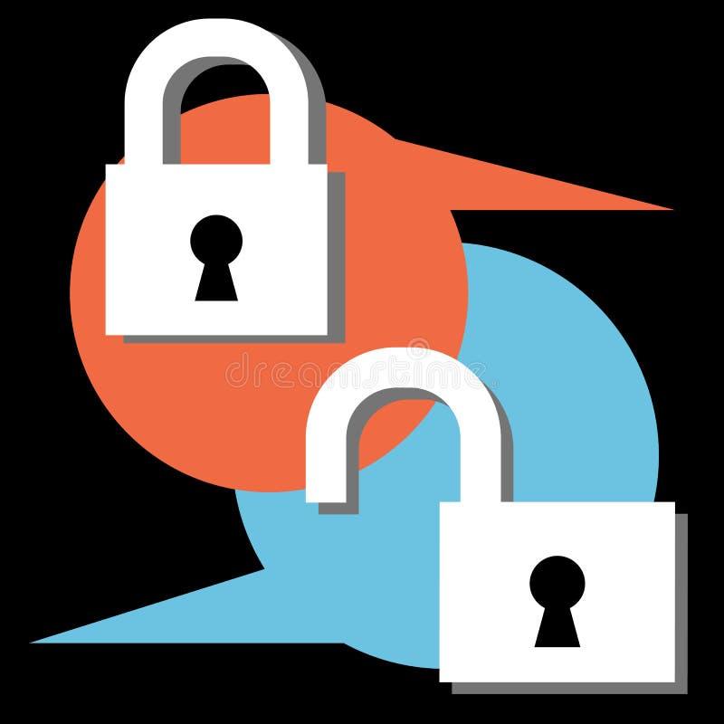 Ανοικτό κλειστό διανυσματικό χρώμα εικονιδίων κλειδαριών ελεύθερη απεικόνιση δικαιώματος