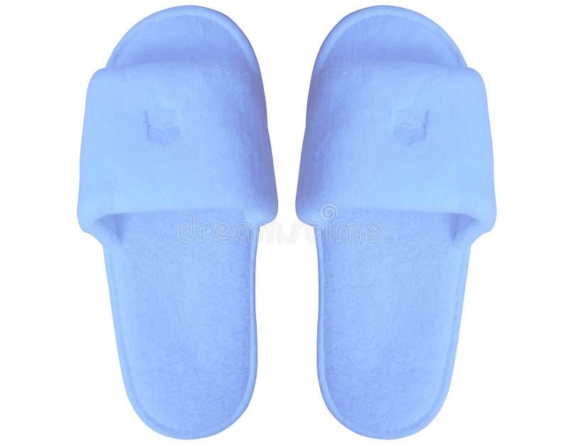 Ανοικτό μπλε εγχώρια παντόφλα που απομονώνεται στο άσπρο υπόβαθρο στοκ φωτογραφία με δικαίωμα ελεύθερης χρήσης