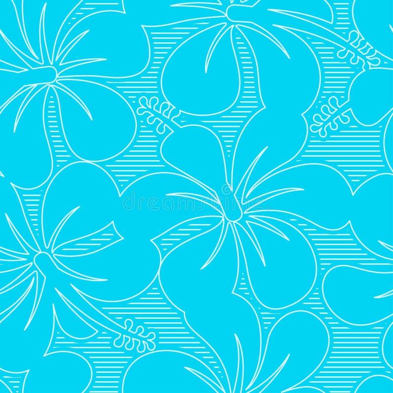 Ανοικτό μπλε και άσπρο hibiscus άνευ ραφής σχέδιο γραμμών απεικόνιση αποθεμάτων