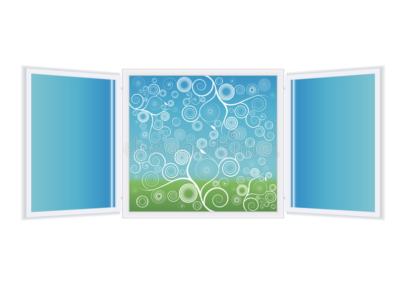 ανοικτό παράθυρο απεικόν&iot διανυσματική απεικόνιση