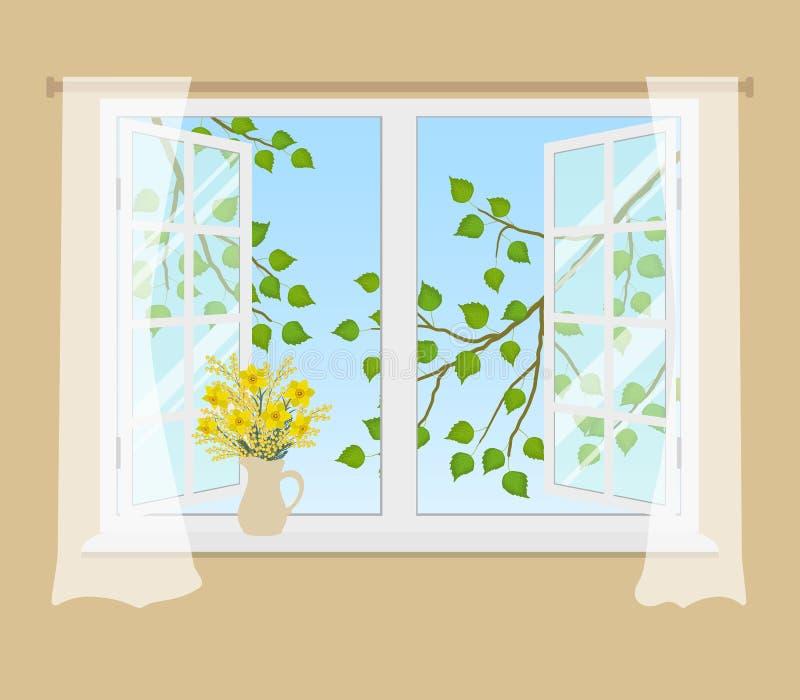 Ανοικτό παράθυρο με τις κουρτίνες σε ένα μπεζ υπόβαθρο διανυσματική απεικόνιση