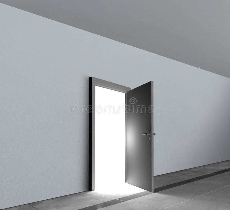 Ανοικτό παρουσιάζοντας φωτεινό άσπρο ελαφρύ να λάμψει πορτών διανυσματική απεικόνιση