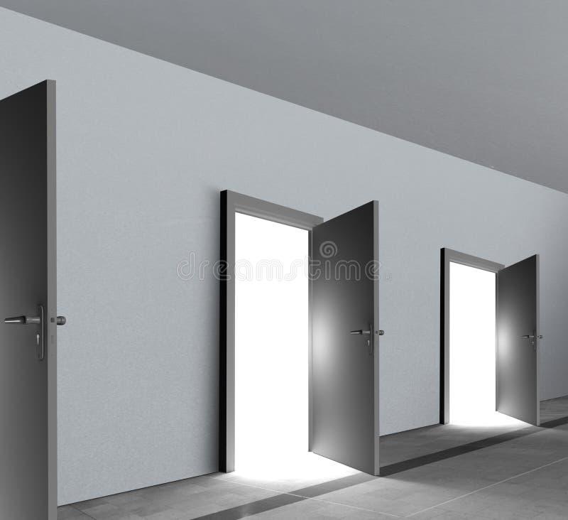 Ανοικτό παρουσιάζοντας φωτεινό άσπρο να λάμψει πορτών φως απεικόνιση αποθεμάτων