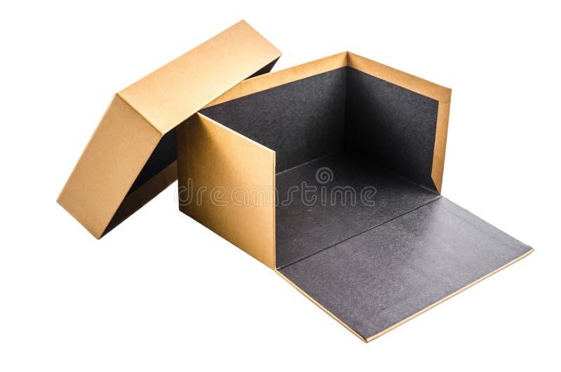 ανοικτό παρόν κουτί από χαρτόνι που απομονώνεται στο άσπρο υπόβαθρο στοκ εικόνες