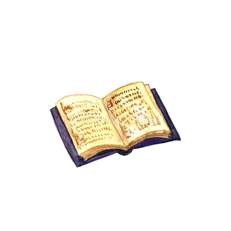 Ανοικτό παλαιό βιβλίο Watercolor στοκ εικόνα