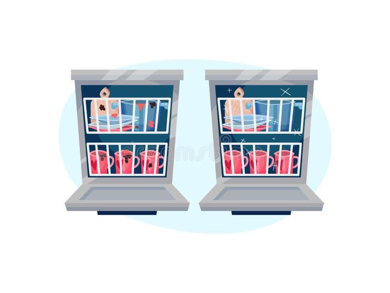 Ανοικτό πλυντήριο πιάτων με τα πιάτα μέσα Διανυσματική απεικόνιση στο μπλε ωοειδές υπόβαθρο μορφής διανυσματική απεικόνιση