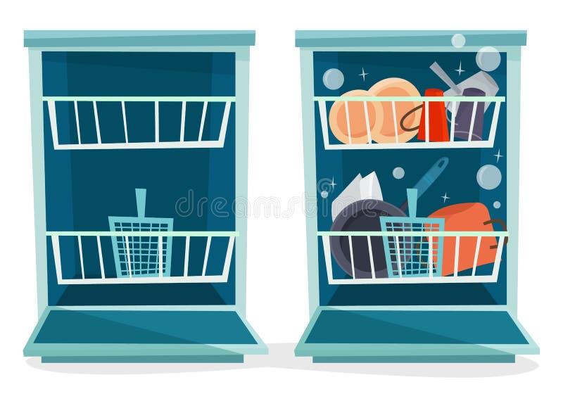 Ανοικτό πλυντήριο πιάτων με τα πιάτα ελεύθερη απεικόνιση δικαιώματος