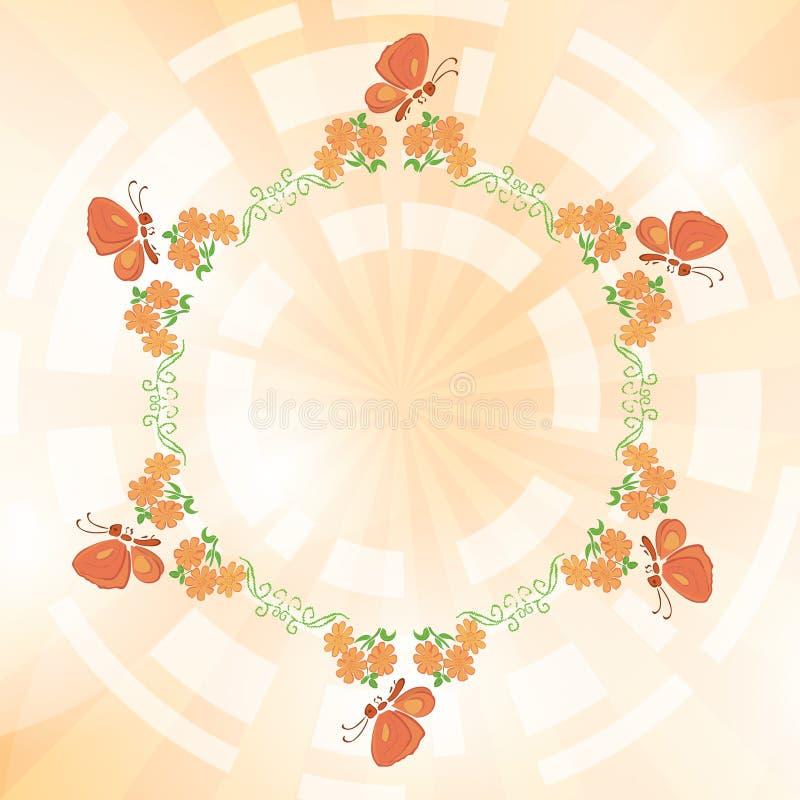 Ανοικτό πορτοκαλί υπόβαθρο με τα λουλούδια και τις πεταλούδες ελεύθερη απεικόνιση δικαιώματος