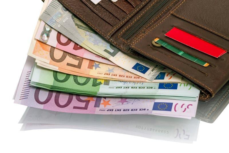 Ανοικτό πορτοφόλι με τα ευρο- τραπεζογραμμάτια στοκ εικόνα με δικαίωμα ελεύθερης χρήσης